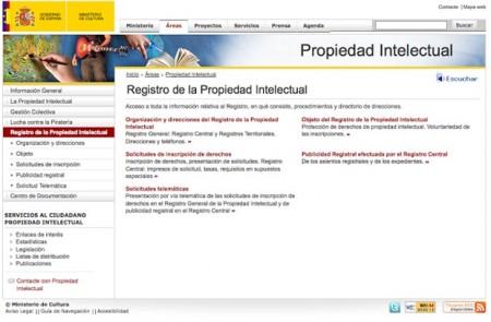 Foto d ela web del registro de la propiedad intelectual