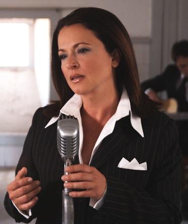 Olga Cerpa durante la grabación de un videoclip