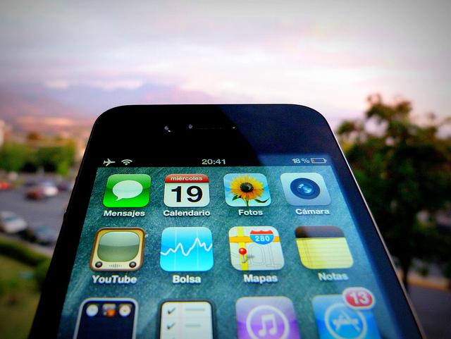 Imagen de las aplicaciones fijas de un Iphone
